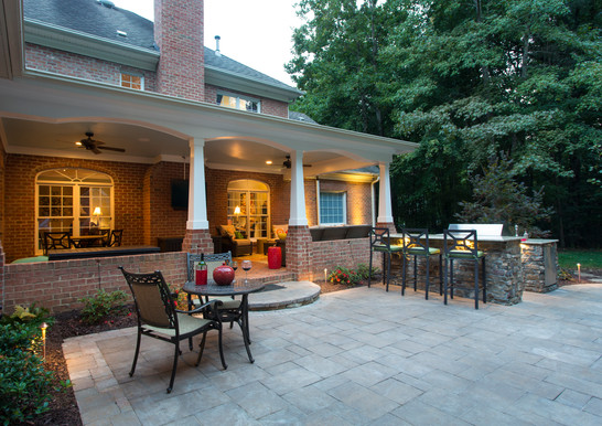 Custom Fireplace, Natural Stone Veneer and Outdoor Living