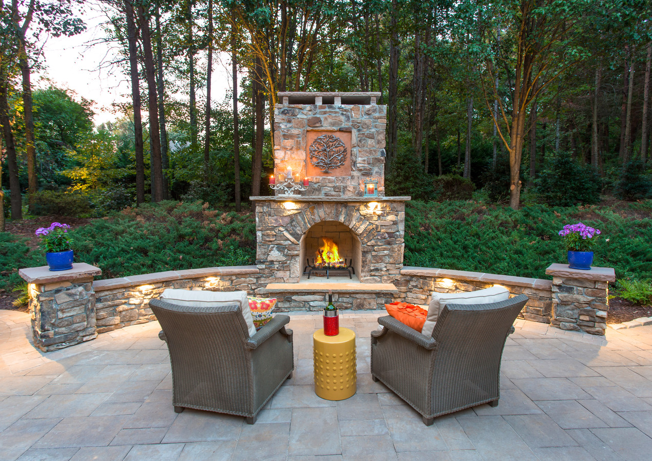 Custom Fireplace with Natural Stone Veneer