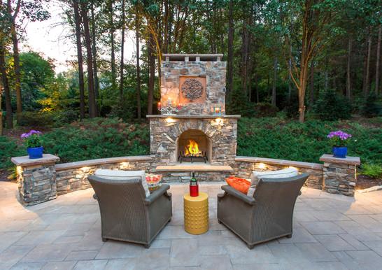 Custom Fireplace with Natural Stone Veneer