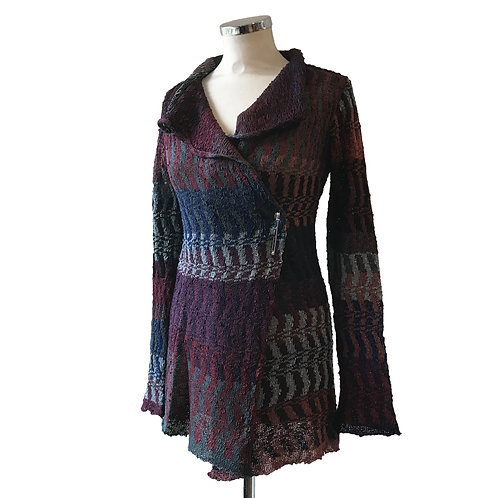 SAMPLE SALE- ZigZag Viscose Jacket V295 in Wine and Purple