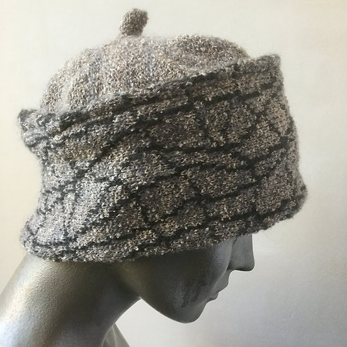 Mohair knitted banded hat - neutral colours