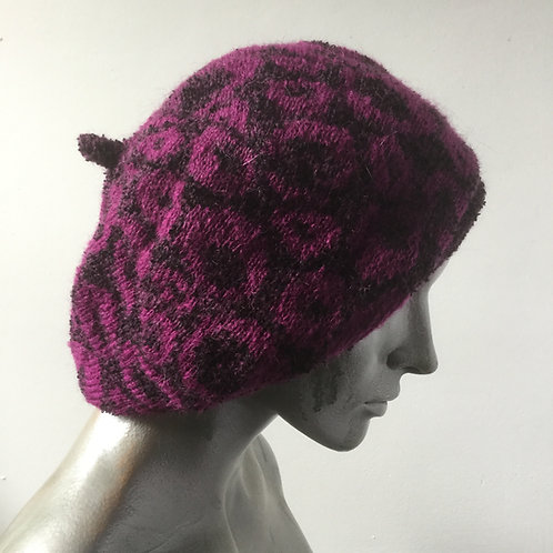 Mohair knitted beret - warm colours