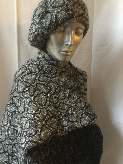 Mohair boucle scarf - Black & Gray