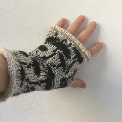 Mohair Boucle Mitts - neutral colours