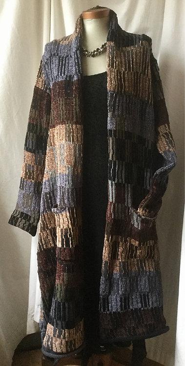 SAMPLE SALE- Knitted wool chenille coat - Black/Brown/Grey