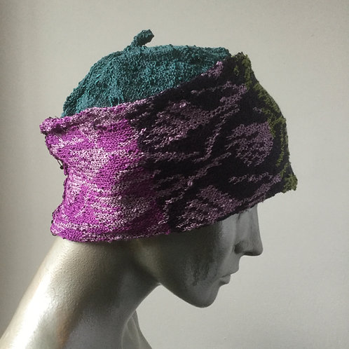 Viscose knitted banded hat - multi coloured