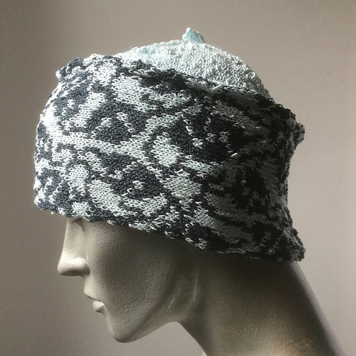 Viscose knitted banded hat - two colour