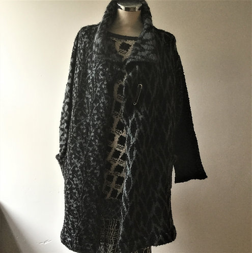 Black and Charcoal knitted mohair coat