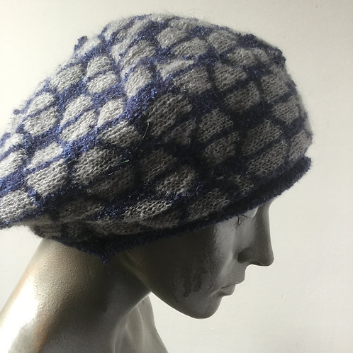 Mohair knitted beret -cool colours