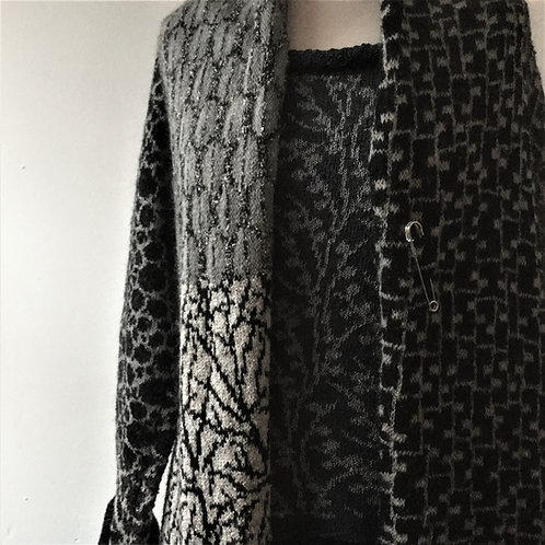Knitted mohair coat - Black, Charcoal & Cream