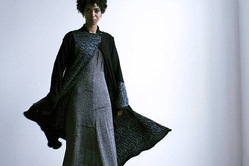 Asymmetric knitted mohair coat Black & charcoal