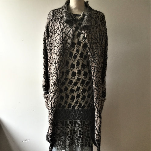 Putty and Black Bordered knitted mohair coat