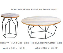 HEXALYN SIDE TABLE AND COFFE TABLE