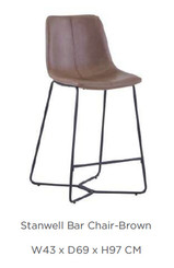 STANWELL BAR STOOL  - available in grey or brown