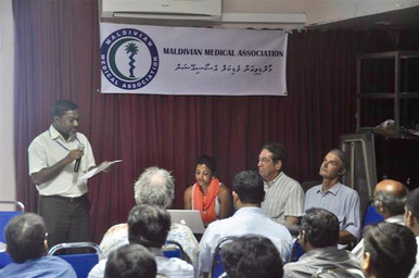 Three of our members were invited to speak to 150 doctors at the Indira Gandhi Memorial Hospital