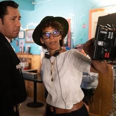 Marta on set with Jaime Alvarez directing of Netflix Gentefied