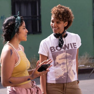 On set with actress Karrie Martin in Boyle Heights for Gentefied