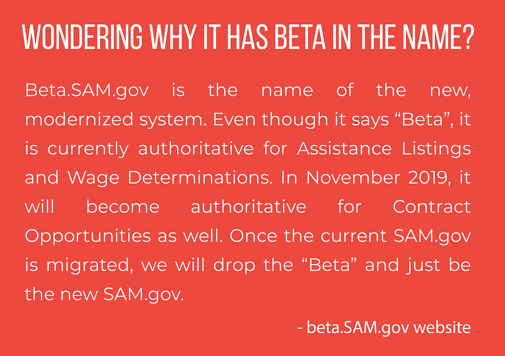 Why is beta in the beta.sam.gov name?