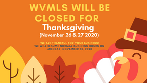 WVMLS Closed for Thanksgiving - 2020