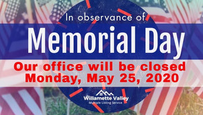 WVMLS Closed on Memorial Day -      May 25, 2020