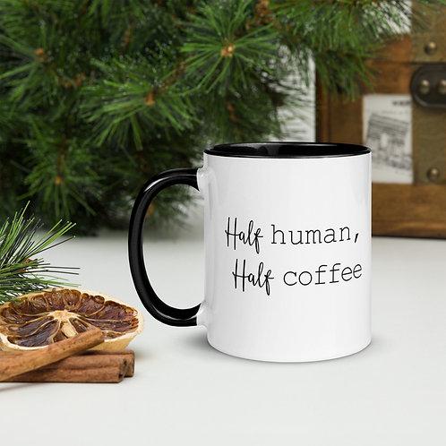 Mug with Color Inside Half Human Half Coffee