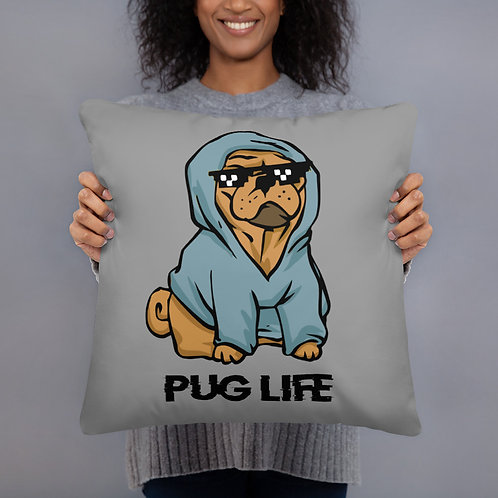 Basic Pillow Pug Life Blue