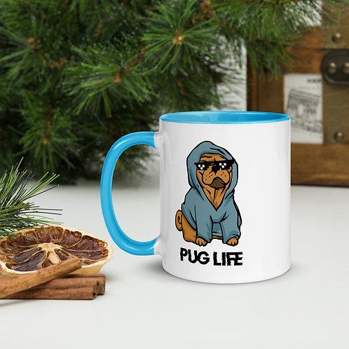 Mug with Color Inside Pug Life Blue