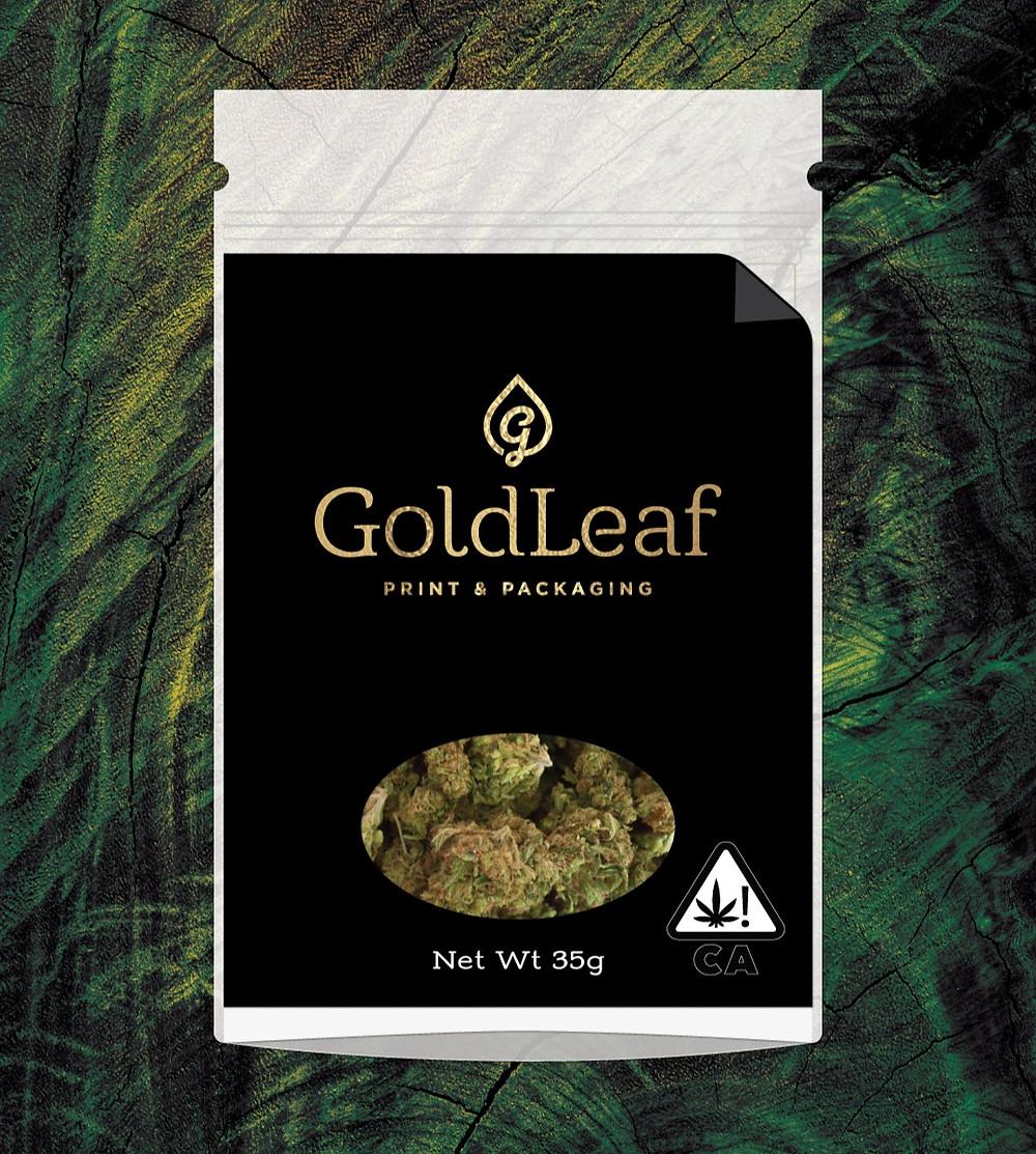 cannabis label placed on mylar bag