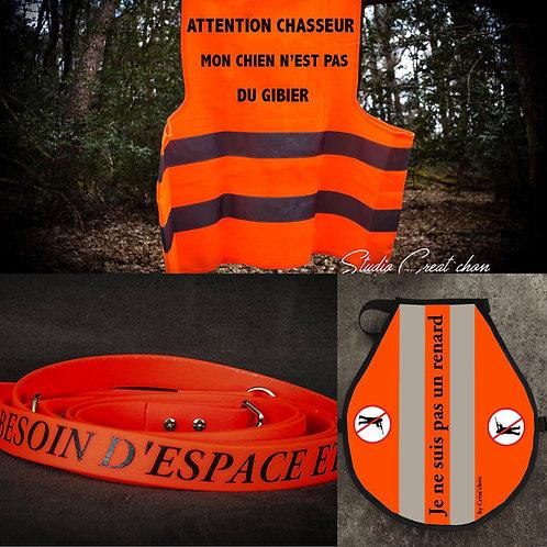 Lot équipement de chasse orange