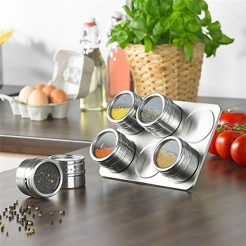 New 6/9 Pcs Magnetic Spice Jars Set Stainless Steel