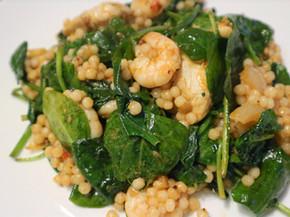 Israeli Couscous with Spinach Prawns & Chicken