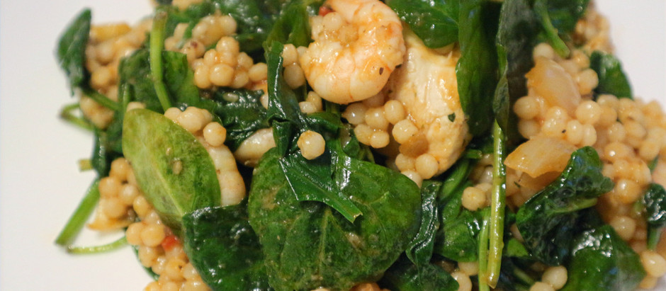 Israeli Couscous with Spinach Prawns & Chicken