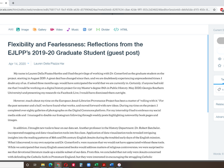 Flexibility and Fearlessness: Reflections from the EJLPP's 2019-20 Graduate Student (guest post)