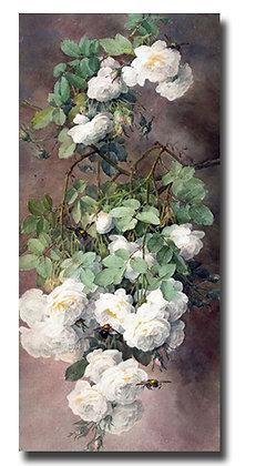 """Картина_Лонгпре Р., """"Белые розы"""""""