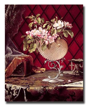 "Картина Хед М._""Натюрморт с цветами яблони и раковиной наутилуса"""