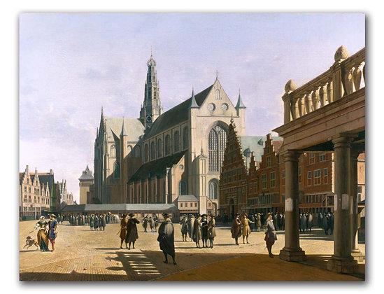 """Берхейде Г., """"Рыночная площадь с церковью святого Бавона в Харлеме"""""""
