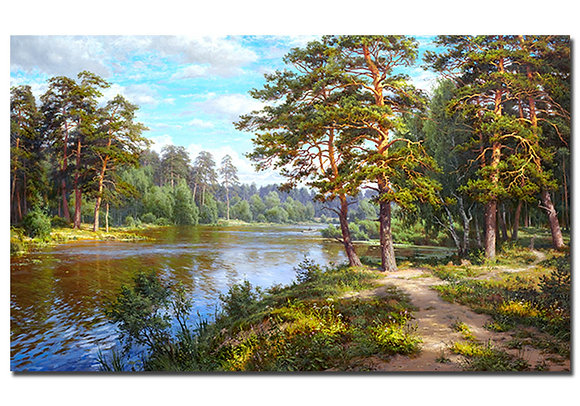 """Картина """"Озеро в лесу"""""""