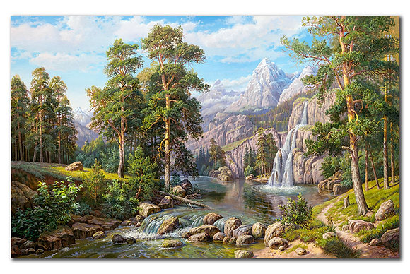 """""""Пейзаж с водопадом"""""""