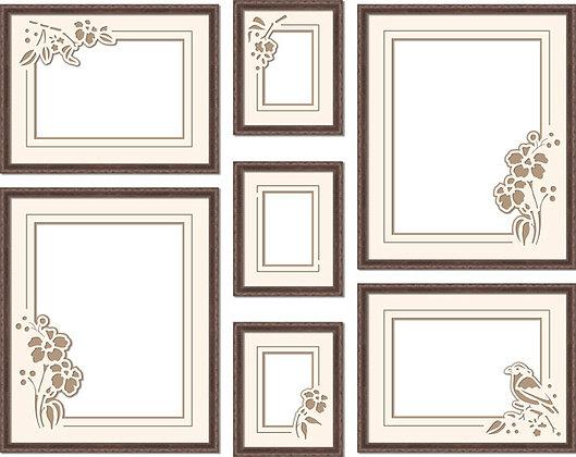 Композиция фоторамок с резным паспарту_008_Веточки и цветочки