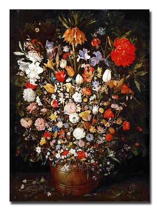 """Брейгель Я., """"Цветы в деревянном вазоне"""""""