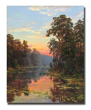 """Картина """"Вечер на озере"""""""