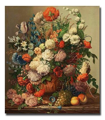 """Картина_Стейнер Д., """"Натюрморт с букетом и фруктами"""""""