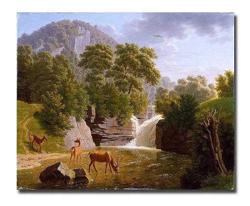 """Бидерман И., """"Горный пейзаж с оленем на реке"""""""
