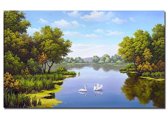 "Картина ""Пейзаж с лебедями"""