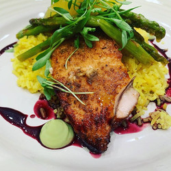 Sugar spiced Salmon with Pomegranate red