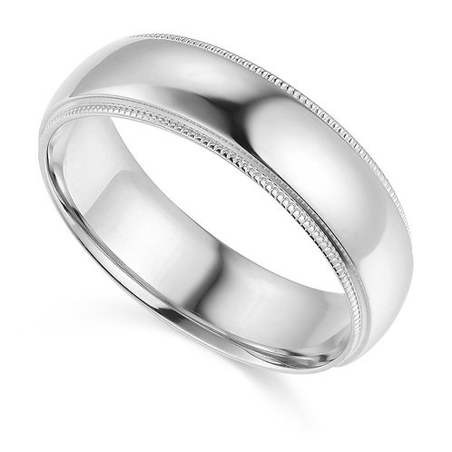 14k White Gold 6-mm Comfort-fit Milgrain and polished Wedding Band