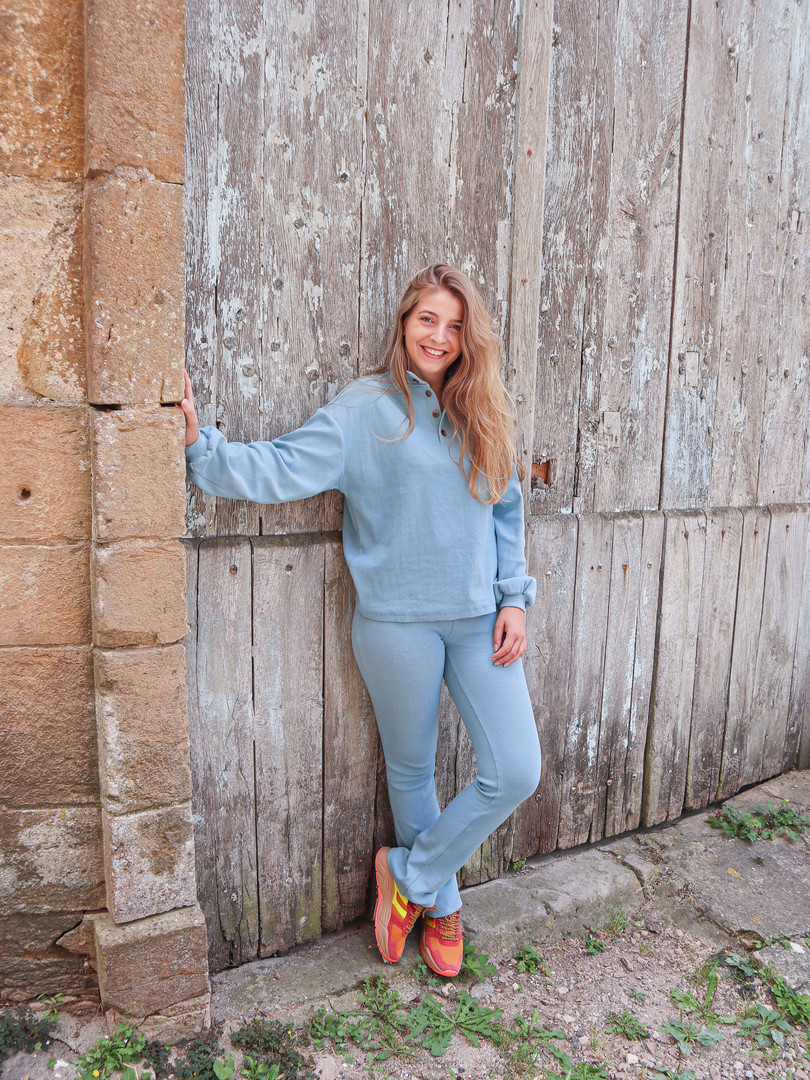 sustainable comfy set of blue sweater and pants