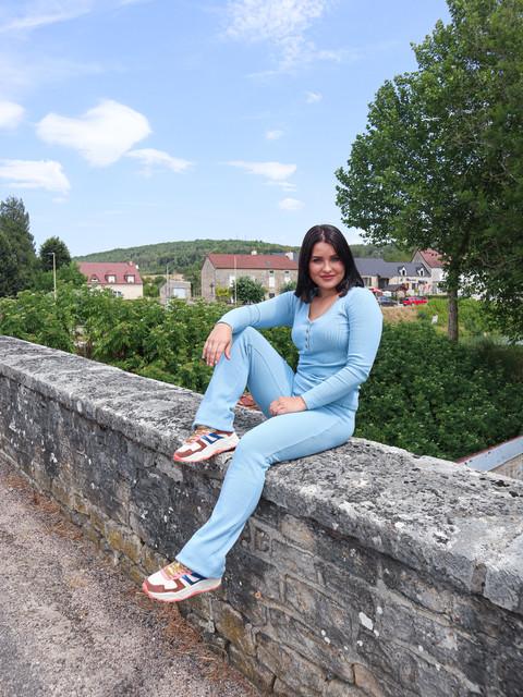 duurzame kleding pak top en broek blauw