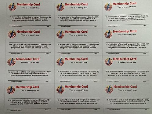 CBC Membership Cards (sheet of 12)