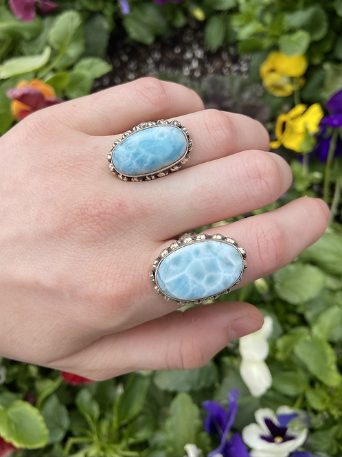 Larimar in the Flowers Ring